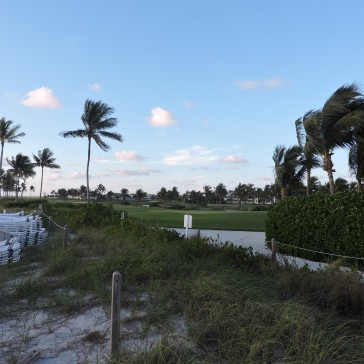 the golf course from the beach